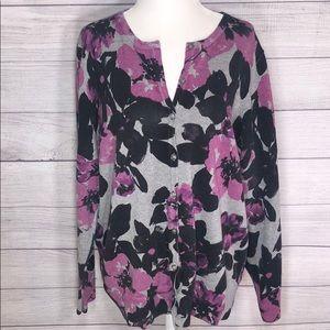 Croft&Barrow - Floral Cardigan, Size 1X